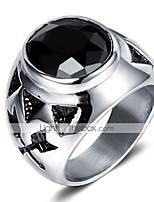 cheap -Men's Vintage Style 3D Band Ring Statement Ring - Titanium Steel Vintage, Punk 9 / 10 Black For Daily Street