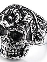 abordables -Homme Le style rétro / Sculpture Bague - Inoxydable Crâne, Fleur Elégant, Rétro, Punk 8 / 9 / 10 Noir Pour Plein Air / Soirée