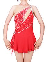 abordables -Robe de Patinage Artistique Femme / Fille Patinage Robes Rouge Spandex Haute élasticité Professionnel Tenue de Patinage Mode Sans Manches Patinage sur glace / Sports d'hiver / Patinage Artistique