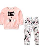 Недорогие -малыш Девочки Цветочный принт / С принтом Длинный рукав Набор одежды