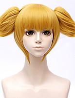 billiga -Cosplay Peruker / Syntetiska peruker Rak Guld Frisyr i lager Syntetiskt hår 10 tum Anime / Cosplay Guld Peruk Dam Korta Utan lock Gul