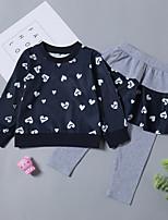 Недорогие -Дети (1-4 лет) Девочки С принтом Длинный рукав Набор одежды