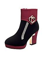 Недорогие -Жен. Fashion Boots Замша Наступила зима Деловые Ботинки На толстом каблуке Круглый носок Ботинки Черный / Черный / Красный / Черный / синий