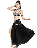 baratos -Dança do Ventre Roupa Mulheres Espetáculo Poliéster Purpurina / Jóias de Acrílico / Moedas de Bronze Sem Manga Caído Saias / Sutiã / Acessórios de Cintura