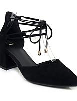 abordables -Femme Chaussures de confort Daim Eté Chaussures à Talons Talon Bottier Noir / Rouge
