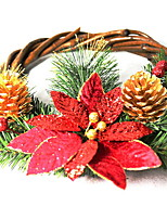 baratos -Guirlandas / Enfeites de Natal Férias De madeira Redonda Festa / Novidades Decoração de Natal