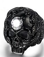 abordables -Homme Zircon Le style rétro Bague Midi - Acier au titane Crâne Rétro 8 / 9 / 10 Or / Noir Pour Cadeau Quotidien