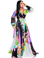 cheap -Women's Sophisticated Chiffon Dress - Tribal Print