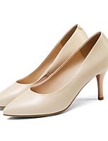 Недорогие -Жен. Комфортная обувь Наппа Leather Лето Обувь на каблуках На шпильке Белый / Миндальный