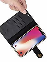 Недорогие -Кейс для Назначение Apple iPhone XR / iPhone XS Max Бумажник для карт / Защита от удара / Флип Чехол Однотонный Твердый Кожа PU для iPhone XS / iPhone XR / iPhone XS Max