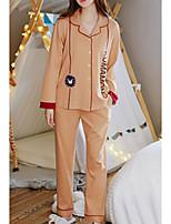 cheap -Women's Shirt Collar Suits Pajamas Letter