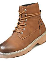 Недорогие -Жен. Армейские ботинки Полиуретан Осень На каждый день Ботинки На низком каблуке Сапоги до середины икры Черный / Коричневый