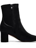 Недорогие -Жен. Ботильоны Наппа Leather Осень Обувь на каблуках На толстом каблуке Заостренный носок Ботинки Цветы из сатина Черный / Темно-коричневый