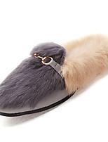 Недорогие -Жен. Комфортная обувь Искусственный мех / Полиуретан Осень На каждый день На плокой подошве На плоской подошве Круглый носок Черный / Серый / Желтый / Контрастных цветов
