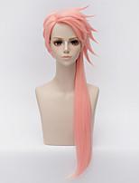 abordables -Accessoires pour Perruques Droit Rose Coupe Dégradée Cheveux Synthétiques 32 pouce Animé / Cosplay Rose Perruque Homme / Femme Long Sans bonnet Rose + Rouge