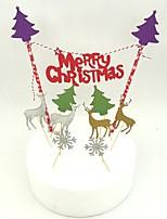 Недорогие -рождественский торт верхний счастливый новый год Санта-Клаус веселый рождественский торт флаги рождество новогодний праздник торт декор хмелевый флаг