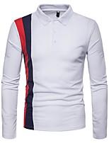 cheap -Men's Polo - Color Block Shirt Collar / Long Sleeve