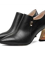 Недорогие -Жен. Fashion Boots Наппа Leather Осень Ботинки На толстом каблуке Закрытый мыс Ботинки Черный / Хаки