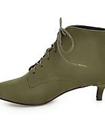 Недорогие -Жен. Комфортная обувь Замша / Микроволокно Зима Ботинки На низком каблуке Заостренный носок Ботинки Черный / Красный / Зеленый