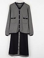 baratos -Mulheres Básico Camisa Social - Patchwork, Sólido / Estampa Colorida Saia