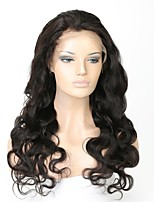 cheap -Unprocessed Human Hair Lace Front Wig Brazilian Hair Body Wave Wig Middle Part 130% With Baby Hair / Easy dressing / Natural Hairline Natural Women's Long Human Hair Lace Wig