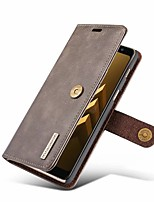 cheap -Case For Samsung Galaxy A8 2018 Wallet / Card Holder / with Stand Full Body Cases Solid Colored Hard Genuine Leather for A8 2018