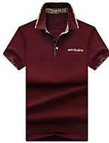 Недорогие -Муж. Большие размеры - Polo Рубашечный воротник Однотонный / С короткими рукавами