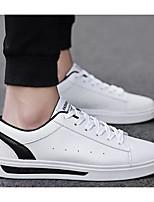 Недорогие -Муж. Комфортная обувь Полиуретан Весна & осень Кеды Розовый и белый / Черно-белый / Белое / серебро
