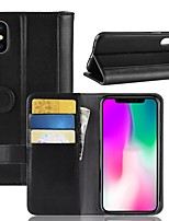 Недорогие -Кейс для Назначение Apple iPhone XS / iPhone XR Кошелек / Бумажник для карт / Флип Чехол Однотонный Твердый Настоящая кожа для iPhone XS / iPhone XR / iPhone XS Max