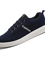 Недорогие -Муж. Комфортная обувь Сетка / Эластичная ткань Осень На каждый день Кеды Нескользкий Лозунг Черный / Темно-синий / Серый