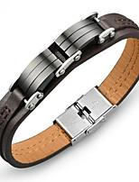 Недорогие -Муж. Классический Кожаные браслеты - Титановая сталь, Платиновое покрытие модный, корейский Браслеты Коричневый Назначение Повседневные