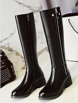 Недорогие -Жен. Fashion Boots Замша / Наппа Leather Осень Ботинки На низком каблуке Заостренный носок Бедро высокие сапоги Цветы из сатина Черный