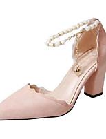 Недорогие -Жен. Комфортная обувь Замша Весна лето Обувь на каблуках На толстом каблуке Черный / Серый / Розовый