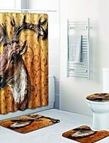 Недорогие -3 предмета На каждый день / Деревенский Коврики для ванны 100 г / м2 полиэфирный стреч-трикотаж Животное нерегулярный Новый дизайн / Cool