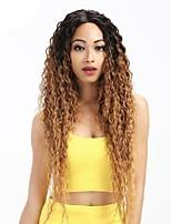 Недорогие -Remy Лента спереди Парик Бразильские волосы Кудрявый Парик Стрижка каскад 130% Волосы с окрашиванием омбре / Темные корни / Природные волосы Темно-рыжий Жен. Длинные