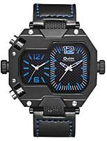 Недорогие -Oulm Муж. Спортивные часы Армейские часы Японский Японский кварц 30 m С двумя часовыми поясами Крупный циферблат Кожа Группа Аналоговый На каждый день Мода Черный - Черный Темно-синий Красный