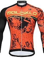 Недорогие -Malciklo Муж. Длинный рукав Велокофты - Оранжевый Мультипликация Велоспорт Джерси, Сохраняет тепло, Анатомический дизайн, Флисовая подкладка, Со светоотражающими полосками Флис Мультипликация