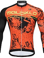 cheap -Malciklo Men's Long Sleeve Cycling Jersey - Orange Cartoon Bike Jersey, Thermal / Warm, Anatomic Design, Fleece Lining, Reflective Strips Fleece Cartoon / Italy Imported Ink