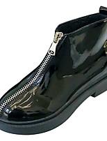 Недорогие -Жен. Fashion Boots Полиуретан Осень На каждый день Ботинки На низком каблуке Круглый носок Сапоги до середины икры Черный