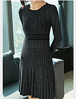 Недорогие -Жен. Классический Трикотаж Платье - Однотонный, Пэчворк Выше колена