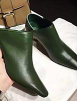 Недорогие -Жен. Балетки Кожа Осень Обувь на каблуках На толстом каблуке Черный / Зеленый