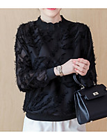 baratos -Mulheres Blusa Básico Renda / Patchwork, Sólido
