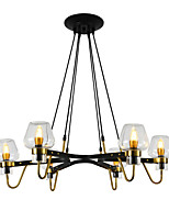 cheap -6-Head Northern Europe Chandelier Living Room Dining Room Transparent Glass Pendant Lights E12/E14 Bulb Base