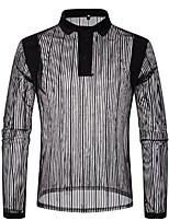 baratos -Homens Polo Listrado Colarinho de Camisa / Manga Longa