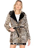 Недорогие -Жен. Пальто с мехом Винтаж / Изысканный - Леопард / Контрастных цветов С принтом