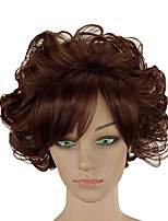 cheap -Synthetic Wig Curly Middle Part Synthetic Hair 12 inch Normal / Soft / Heat Resistant Brown Wig Women's Short Capless Brown