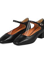 Недорогие -Жен. Балетки Наппа Leather Осень Обувь на каблуках На толстом каблуке Черный / Миндальный / Вино