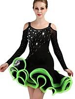 cheap -Latin Dance Dresses Women's Performance Spandex / Organza Ruching / Crystals / Rhinestones Long Sleeve Natural Dress
