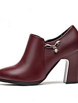 Недорогие -Жен. Fashion Boots Полиуретан Наступила зима Классика Ботинки На толстом каблуке Заостренный носок Ботинки Черный / Вино / Для вечеринки / ужина