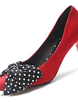 abordables -Femme Escarpins Polyuréthane Automne Chaussures à Talons Talon Aiguille Bout pointu Noeud Noir / Beige / Rouge / Soirée & Evénement / Soirée & Evénement